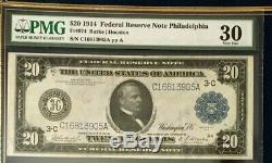 Series 1914 $20 Pmg30 Very Fine Federal Reserve Note Philadelphia Nice