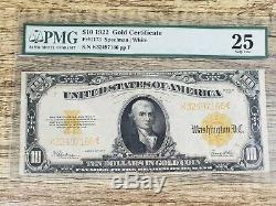 Series 1922 $10 Gold Certificate Pmg 25 Very Fine Large Size Currency Fr1173