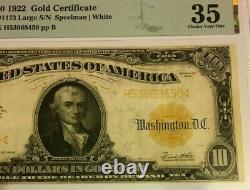 Series 1922 Large $10 Gold Certificate Pmg35 Choice V Fine Speelman/white 3625