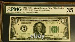 Series 1928 $100 Pmg35 Choice Very Fine Federal Reserve Note Philadephia 3619