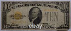 Series 1928 $10 Gold Certificate Fine, missing corner