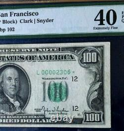 Series 1950 $100 Frn Pmg40 Extremely Fine, Epq, Mule Star San Francisco 3715
