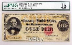 Series Of 1922 $100 Large Size Gold Certificate Note Fr#1215 PMG Choice Fine 15