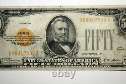 Small Size $50 US Gold Certificate Net Extra Fine/Teller Stamp (A00017530A)