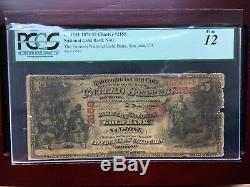 Ultra Rare 1874 $5 National Gold Bank Note, San Jose, Ca Pcgs 12 Fine