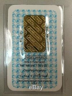VINTAGE 1 OZ. 9999 FINE GOLD ENGELHARD BAR WithASSAY CERTIFICATE CARD