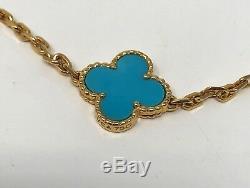 Van Cleef & Arpels Vintage Alhambra Turquoise Gold Necklace CERTIFICATE! RARE