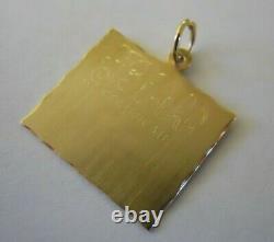 Vintage 14k Gold ENGRAVABLE BIRTH CERTIFICATE Bracelet Charm 2.7 Gr #20038C
