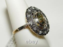 Vintage 1.58CT(Est.) DEMANTOID 0.57CT(Est.) Diamond Ring 18K GIA Certificate
