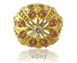 Vintage Igor Carl Faberge 18K Gold Diamond Ruby Crown Ring Box/Certificate