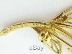 Vintage Igor Carl Faberge 18K Gold Diamond Ruby Rose Pin Ring Box/Certificate