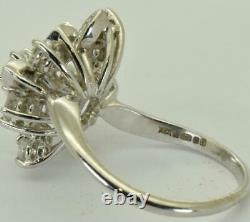 WOW! Amazing Art-Deco 14k white gold, 1.05ct F/G color Diamonds ring+CERTIFICATE